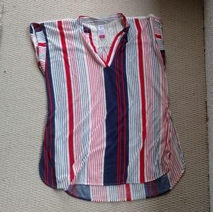 Red white and blue V neck tee